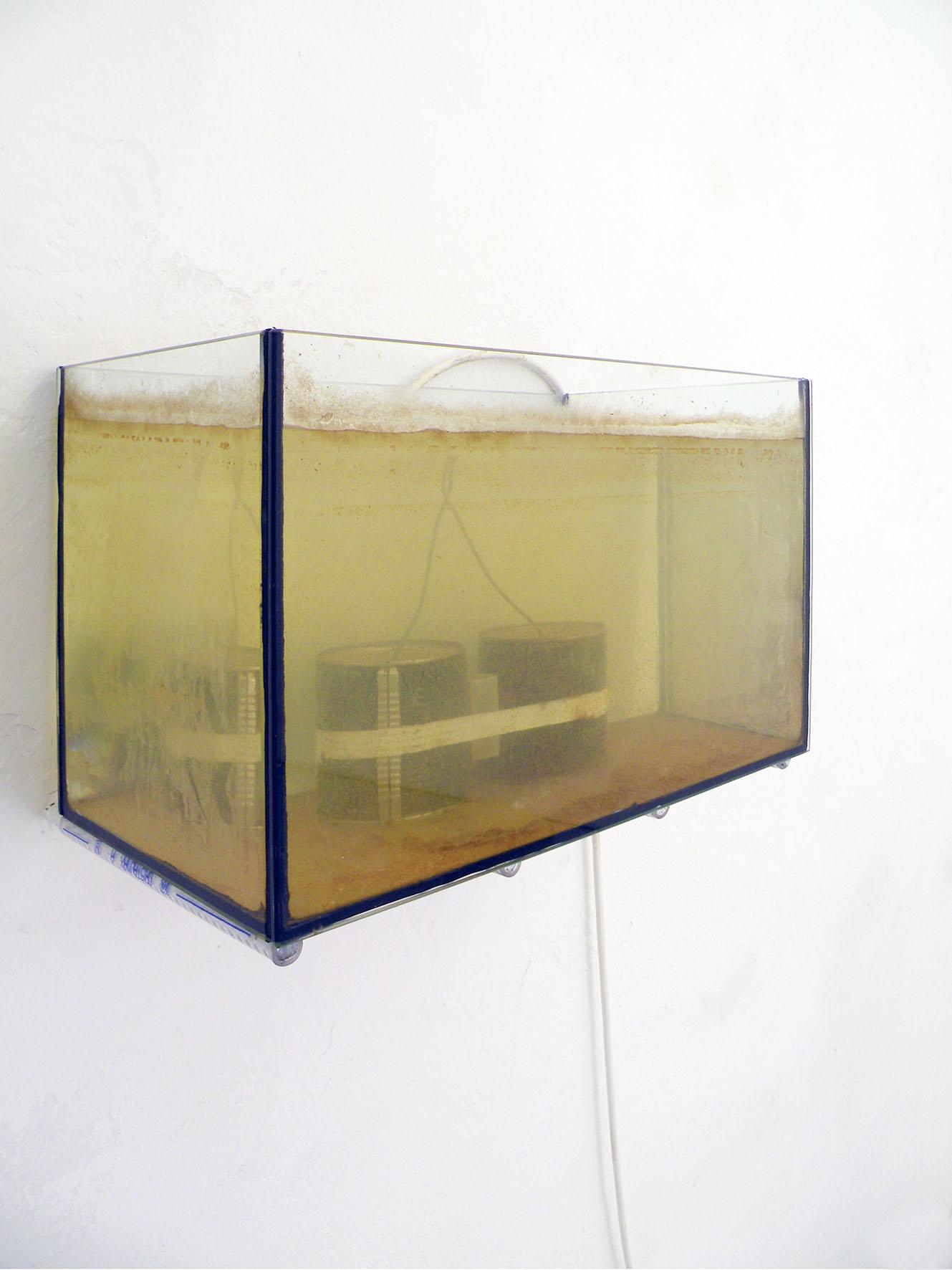 Elia Gobbi. Still life, 2015. Bollitore, acquario, acqua,     pigmento, dimensioni variabili, Detail