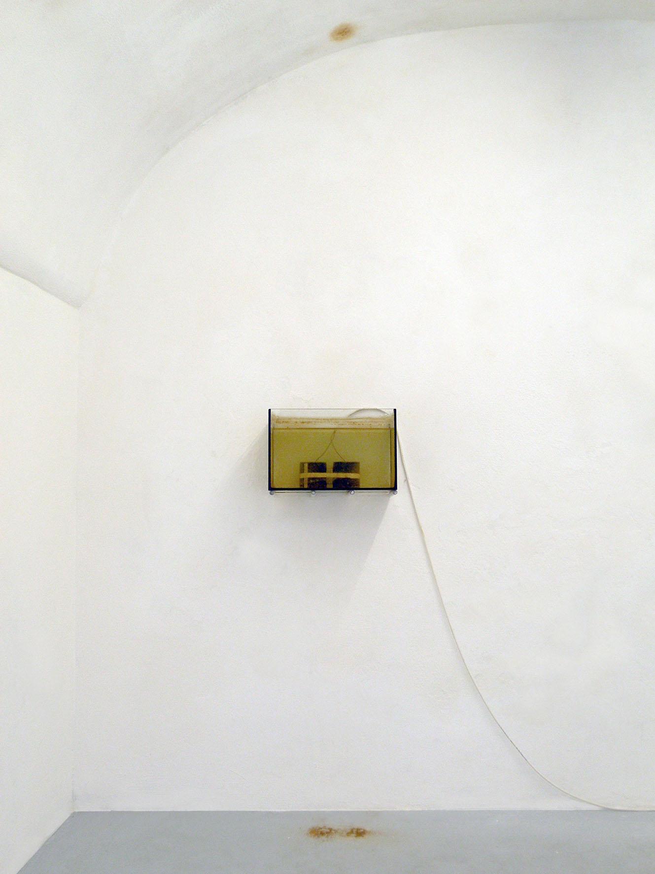Elia Gobbi. Still life, 2015. Bollitore, acquario, acqua,     pigmento, dimensioni variabili.