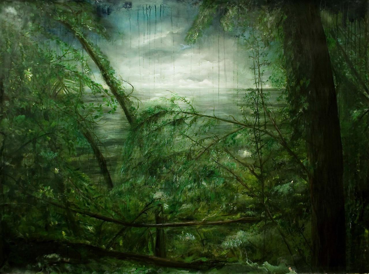 Antonio Bardino - Paesaggio laterale - olio su tela - 194x138cm