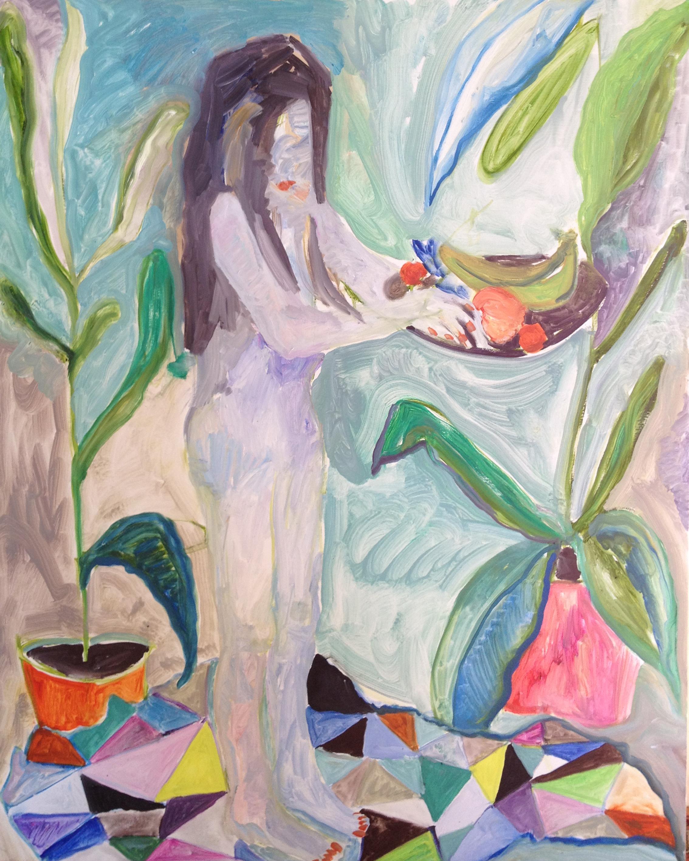 Lorenza Boisi - Posing as an Expressionist Painting - olio su tela - 2014 -100x80 cm