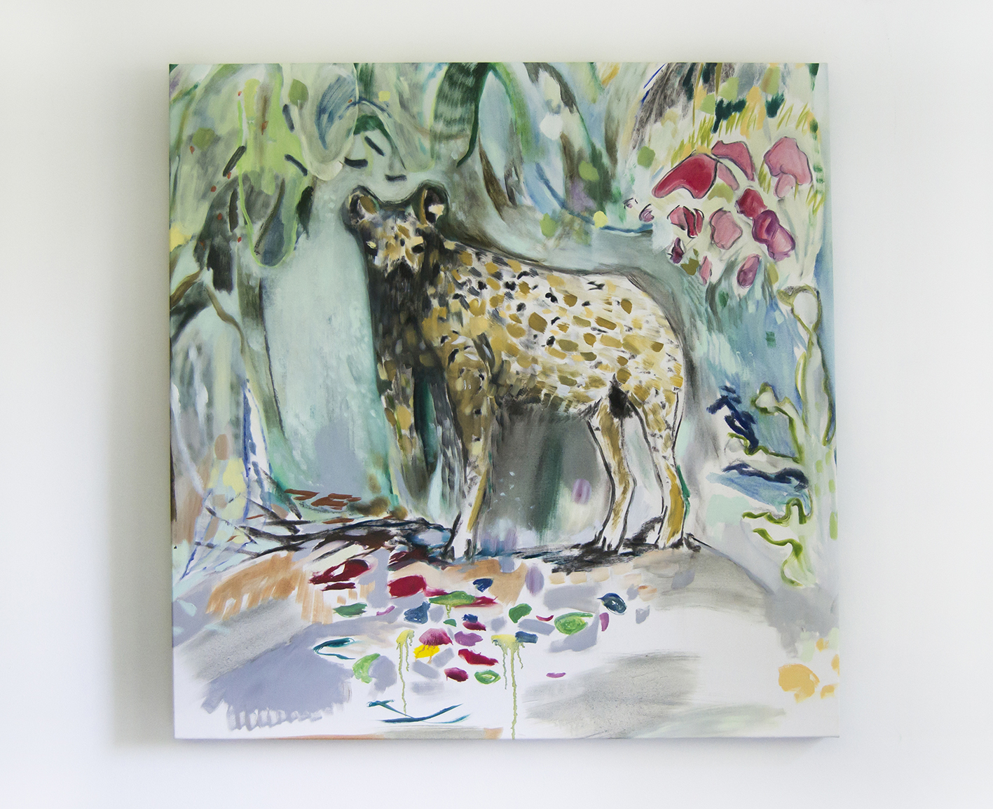 Vera Portatadino, Untitled Hyena, 2015, olio su tela, 120x120 cm.