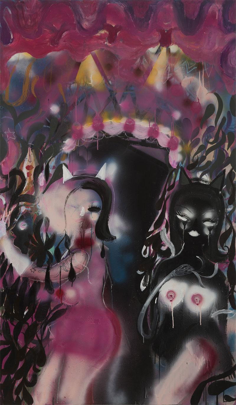 Silvia Argiolas - Pussy Gate, 2016, tecnica mista su tela, 100 x 170 cm