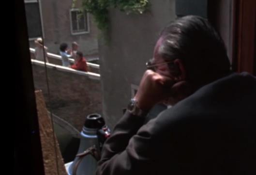 Luchino Visconti, durante il girato de La morte a Venezia, 1974 copyright Visconti e WB Vista su Rio San Giacomo dell'Orio e Salita Carminati