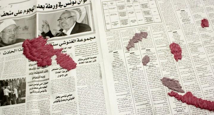 Luca Staccioli map #8, pagina quotidiano Annahar al maghribia, Café Nouvelle Ville, Marrakech