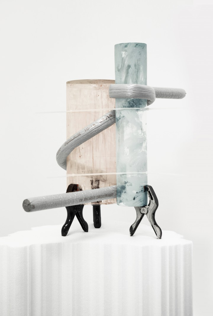 Nicola Gobbetto, Il Giardino delle Esperidi. 120x64x45. Glass vases, enamel, isolating tubes, plastic ties, polystyrene, 120x62x45cm