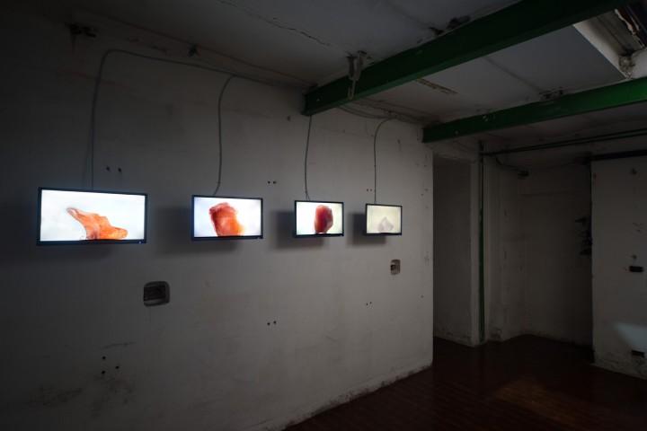 La lingua che scolpisce, 2018, serie di quattro video, loop, suono muto. Foto di Alessandro Nassiri